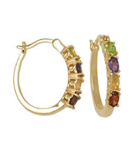 18K Gold-Over-Brass Hoop Earrings - Multi