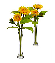 Nearly Natural® Golden Sunflower with Bud Vase (Set of 2)