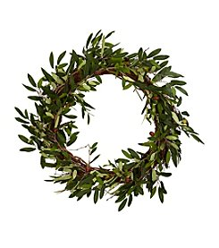 """Nearly Natural® 20"""" Olive Wreath"""