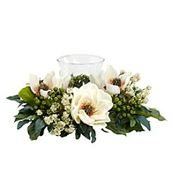 Nearly Natural® Magnolia Candelabrum Silk Flower Arrangement