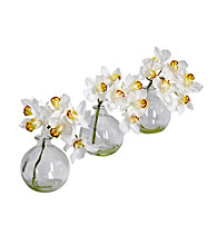 Nearly Natural® Cymbidium with Vase Silk Flower Arrangement (Set of 3)