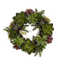 """Nearly Natural® 20"""" Succulent Wreath"""