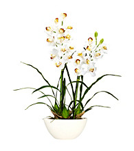Nearly Natural® Cymbidium with White Vase Silk Flower Arrangement