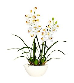 Nearly Natural® Cymbidium with White Vase Silk Flower Arrangement