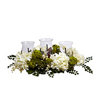 Nearly Natural® Snowball Hydrangea Triple Candelabrum