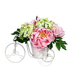 Nearly Natural® Peony & Hydrangea Tricycle Silk Flower Arrangement