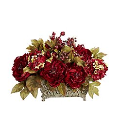Nearly Natural® Peony & Hydrangea Silk Flower Arrangement