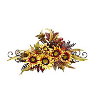 Nearly Natural® Sunflower Swag with Metal Frame