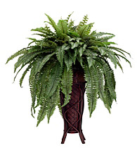 Nearly Natural® Boston Fern with Stand Silk Plant
