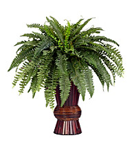 Nearly Natural® Boston Fern with Bamboo Vase