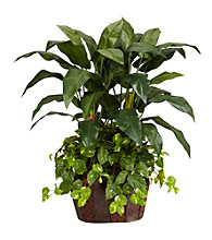 Nearly Natural® 4' Double Bird of Paradise with Vase & Pothos Silk Plant