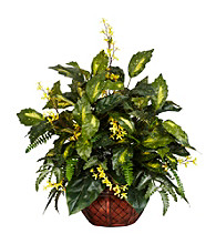 Nearly Natural® Forsythia & Mixed Greens Silk Plant