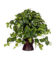 Nearly Natural® Pothos with Bamboo Vase Silk Plant