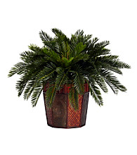 Nearly Natural® Cycas with Octagon Vase Silk Plant