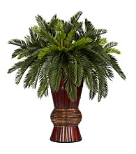 Nearly Natural® Cycas with Bamboo Vase Silk Plant