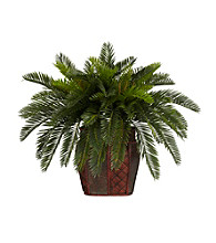 Nearly Natural® Double Cycas with Vase Silk Plant