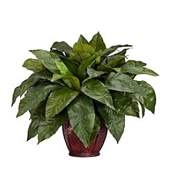 Nearly Natural® Birdsnest Fern with Decorative Vase Silk Plant
