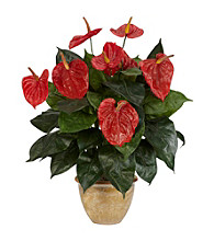Nearly Natural® Anthurium with Ceramic Vase Silk Plant