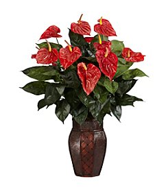 Nearly Natural® Anthurium with Vase Silk Plant