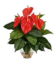 Nearly Natural® Anthurium with Fluted Glass Bowl Silk Flower Arrangement