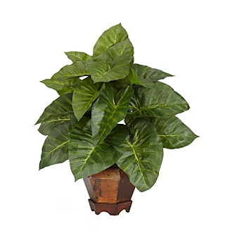 Nearly Natural® Taro with Vase Silk Plant
