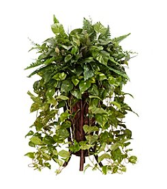 Nearly Natural® Vining Mixed Greens with Decorative Stand Silk Plant