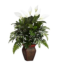 Nearly Natural® Mixed Greens with Spathyfillum & Decorative Vase Silk Plant
