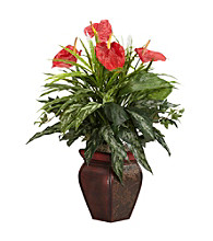 Nearly Natural® Mixed Greens & Anthurium with Decorative Vase Silk Plant