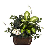 Nearly Natural® African Violet, Dieffenbachia & Ivy with Chest Silk Plant
