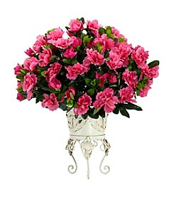 Nearly Natural® Azalea with Metal Planter Silk Plant