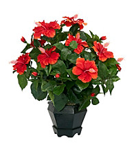Nearly Natural® Hibiscus with Black Hexagon Vase Silk Plant