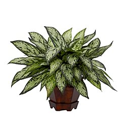 Nearly Natural® Triple Silver Queen with Hexagon Vase Silk Plant