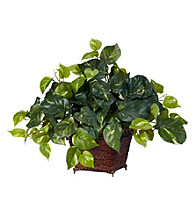 Nearly Natural® Pothos with Coiled Rope Planter Silk Plant