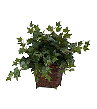 Nearly Natural® Puff Ivy with Coiled Rope Planter Silk Plant