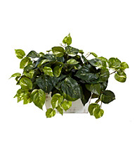 Nearly Natural® Pothos with White Wash Planter Silk Plant
