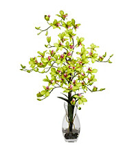 Nearly Natural® Dendrobium with Vase Silk Flower Arrangement