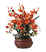 Nearly Natural® Large Cymbidium Silk Flower Arrangement