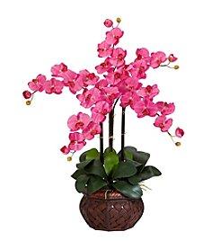 Nearly Natural® Phalaenopsis with Decorative Vase Silk Flower Arrangement