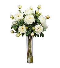 Nearly Natural® Peony with Cylinder Silk Flower Arrangement
