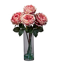 Nearly Natural® Fancy Rose with Cylinder Vase Silk Flower Arrangement