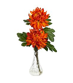 Nearly Natural® Set of Two Mums with Bud Vase Silk Flower Arrangement