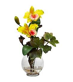 Nearly Natural® Mini Cattleya with Fluted Vase Silk Flower Arrangement