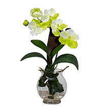 Nearly Natural® Mini Vanda with Fluted Vase Silk Flower Arrangement