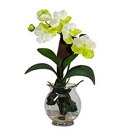 Nearly Natural® Mini Vanda with Fluted Vase Silk Flower Arrangement