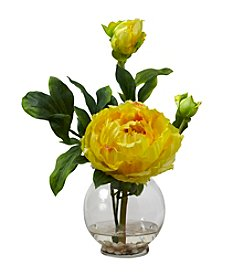 Nearly Natural® Peony Silk Flower Arrangement with Fluted Vase