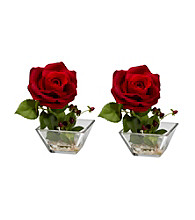Nearly Natural® Rose with Square Vase Silk Flower Arrangement (Set of 2)