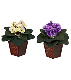 Nearly Natural® Set of Two African Violet with Vase Silk Plant