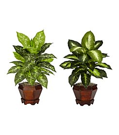 Nearly Natural® Dieffenbachia with Wood Vase Silk Plant (Set of 2)