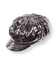Mambo® Girls' Purple Zebra Print Sequined Cabbie Hat