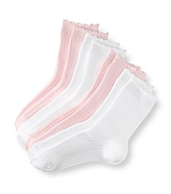 Little Miss Attitude Girls' 4-pack Pink/White Crew Socks